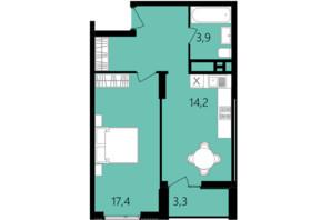 ЖК Лесопарковый: планировка 1-комнатной квартиры 48.2 м²