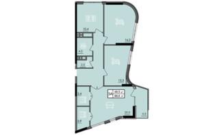 ЖК Лесопарковый: планировка 3-комнатной квартиры 89.6 м²