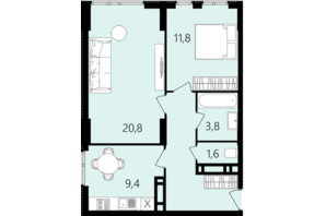 ЖК Лесопарковый: планировка 2-комнатной квартиры 56.9 м²