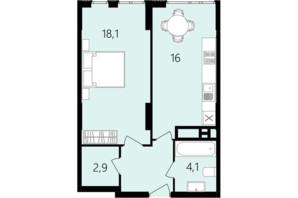 ЖК Лесопарковый: планировка 1-комнатной квартиры 45.5 м²