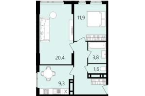 ЖК Лесопарковый: планировка 2-комнатной квартиры 56.6 м²