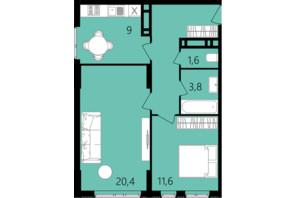 ЖК Лесопарковый: планировка 2-комнатной квартиры 56 м²