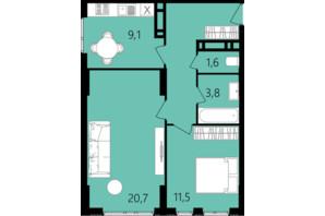ЖК Лесопарковый: планировка 2-комнатной квартиры 56.2 м²