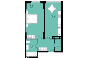 ЖК Лесопарковый: планировка 1-комнатной квартиры 48.1 м²