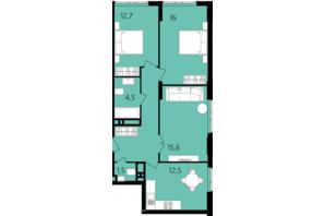 ЖК Лесопарковый: планировка 3-комнатной квартиры 73.5 м²