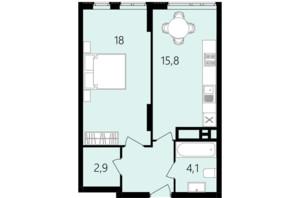 ЖК Лесопарковый: планировка 1-комнатной квартиры 45.2 м²