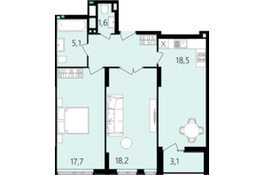 ЖК Лесопарковый: планировка 2-комнатной квартиры 71.7 м²