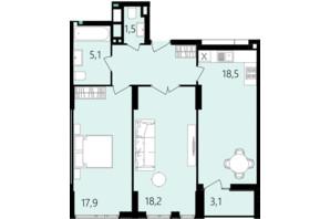 ЖК Лесопарковый: планировка 2-комнатной квартиры 71.6 м²
