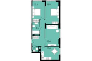 ЖК Лесопарковый: планировка 3-комнатной квартиры 73.9 м²