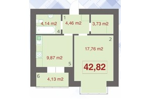 ЖК Левада Дем'янів Лаз: планировка 1-комнатной квартиры 42.82 м²