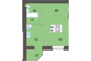 ЖК Левада Нова: планування 1-кімнатної квартири 43.93 м²