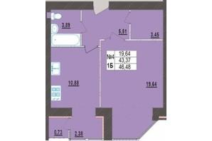 ЖК Левада Нова: планування 1-кімнатної квартири 46.48 м²