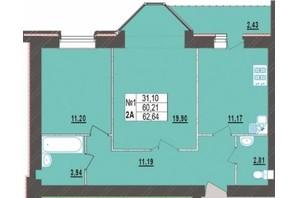 ЖК Левада Нова: планування 2-кімнатної квартири 62.64 м²
