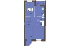 ЖК Левада Нова: планування 3-кімнатної квартири 82.73 м²
