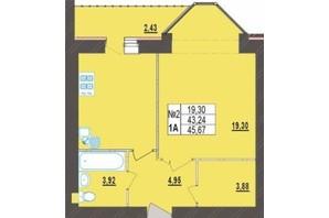 ЖК Левада Новая: планировка 1-комнатной квартиры 45.67 м²