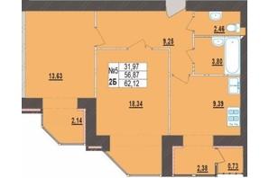 ЖК Левада Новая: планировка 2-комнатной квартиры 62.12 м²