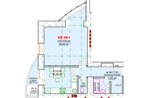 ЖК Леваневського: планування 1-кімнатної квартири 48.93 м²