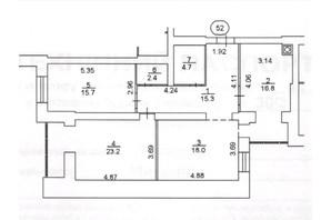 ЖК Levanevsky: планування 3-кімнатної квартири 96.1 м²
