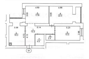 ЖК Levanevsky: планировка 3-комнатной квартиры 96.9 м²