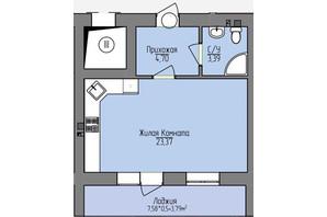 ЖК Левобережный: планировка 1-комнатной квартиры 35.25 м²