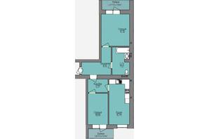 ЖК Левобережный: планировка 2-комнатной квартиры 62.35 м²