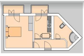 ЖК Liberty: планировка 1-комнатной квартиры 50.58 м²