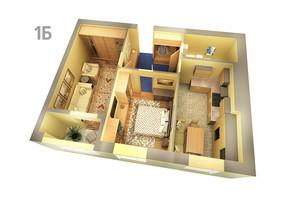 ЖК Life: планування 1-кімнатної квартири 61.44 м²