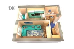 ЖК Life: планування 1-кімнатної квартири 36.21 м²