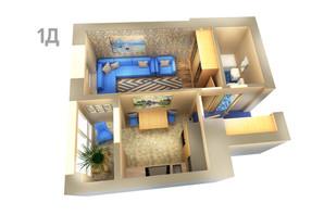 ЖК Life: планування 1-кімнатної квартири 36.44 м²