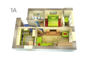 ЖК Life: планування 1-кімнатної квартири 48.53 м²
