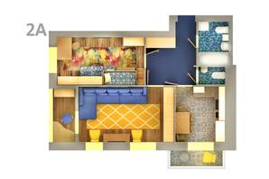 ЖК Life: планування 2-кімнатної квартири 62.64 м²