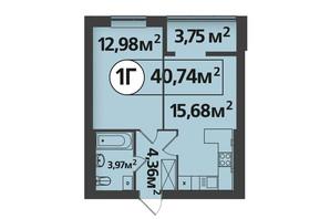 ЖК Life: планування 1-кімнатної квартири 40.74 м²