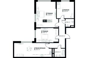 ЖК Life Story (Лайф Стори): планировка 3-комнатной квартиры 105.36 м²