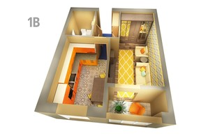 ЖК Life: планировка 1-комнатной квартиры 39.65 м²