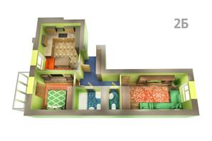 ЖК Life: планировка 2-комнатной квартиры 63.87 м²