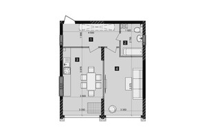 ЖК Liko-Grad Perfect Town: планировка 1-комнатной квартиры 51.6 м²
