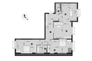 ЖК Liko-Grad Perfect Town: планировка 3-комнатной квартиры 106.69 м²