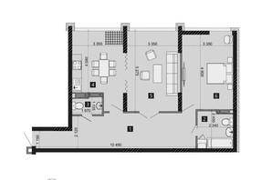 ЖК Liko-Grad Perfect Town: планування 2-кімнатної квартири 76.73 м²