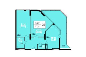 ЖК Лісопарковий: планування 2-кімнатної квартири 77.5 м²