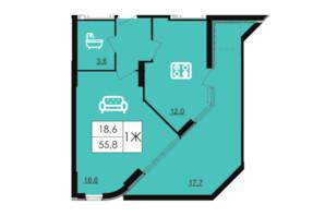 ЖК Лісопарковий: планування 1-кімнатної квартири 55.8 м²