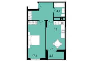 ЖК Лісопарковий: планування 1-кімнатної квартири 48.1 м²
