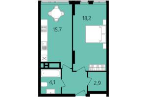 ЖК Лісопарковий: планування 1-кімнатної квартири 45.3 м²