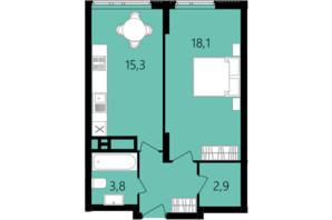 ЖК Лісопарковий: планування 1-кімнатної квартири 44.6 м²