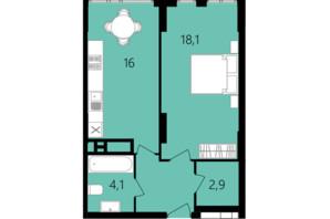 ЖК Лісопарковий: планування 1-кімнатної квартири 45.5 м²