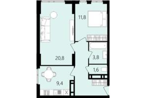 ЖК Лісопарковий: планування 2-кімнатної квартири 56.9 м²