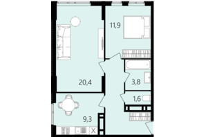 ЖК Лісопарковий: планування 2-кімнатної квартири 56.6 м²