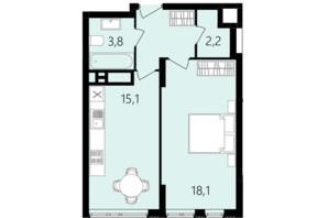 ЖК Лісопарковий: планування 1-кімнатної квартири 43.8 м²