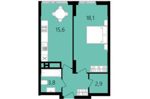 ЖК Лісопарковий: планування 1-кімнатної квартири 44.9 м²