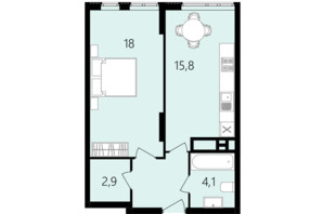 ЖК Лісопарковий: планування 1-кімнатної квартири 45.2 м²