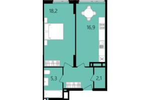 ЖК Лісопарковий: планування 1-кімнатної квартири 47.9 м²